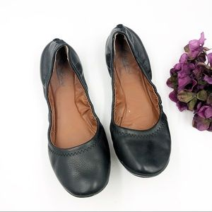 Lucky | Black Leather Emmie Flat